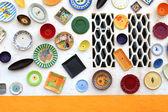 Artisan's wall of handpainted plates — Foto Stock