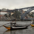 Porto bridge, boats and buildings - Stock Photo