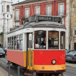 Historic streetcar in Alfama Lisbon — Stock Photo