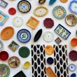 Artisan's wall of handpainted plates — Stock Photo #26906001