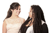 Mother and daughter look at eachother lovingly — Stock Photo