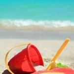 Tropical beach toys and ocean — Stock Photo #51079157