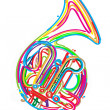 Stock Vector: French horn