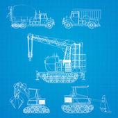 Stavební vozidla modrotisk — Stock vektor