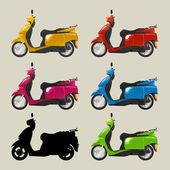Retro scooters — Stock Vector