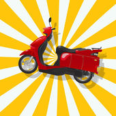 The fantastic shiny red scooter — Stock Vector