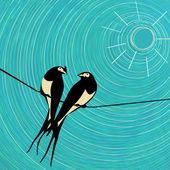 Swallows card. — Stock Vector