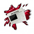 Newspaper murder icon — Stock Vector