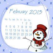 şubat 2013 kar adam takvim — Stok Vektör