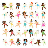 Multiracial baby walking collection — Stock Vector