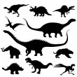 Stock Vector: Dinosaur silhouettes collection