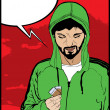Vector de stock : Drug addict comic style