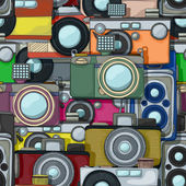 Vintage camera pattern — Stock Vector