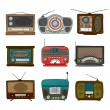Retro radio pictogrammen — Stockvector