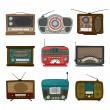 レトロなラジオ アイコン — ストックベクタ