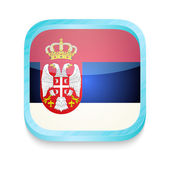 Smart phone button with Serbia flag — Stock Vector