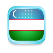 Smart phone button with Uzbekistan flag — Stock Vector