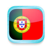 Smart phone button with Portugal flag — 图库矢量图片