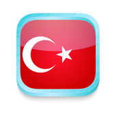 Smart phone button with Turkey flag — Stock Vector