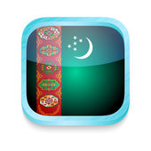 Smart phone button with Turkmenistan flag — Stock Vector