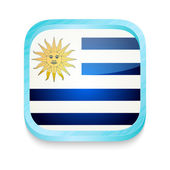 Smart phone button with Uruguay flag — Stock Vector