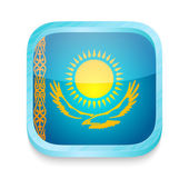 Smart phone button with Kazakhstan flag — Stock Vector