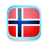 Smart phone button with Norway flag — Stock Vector