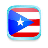 Smart phone button with Puerto Rico flag — Stock Vector