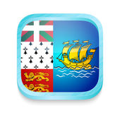Smart phone button with Saint-Pierre and Miquelon flag — 图库矢量图片