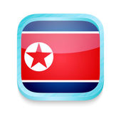 Smart phone button with North Korea flag — Stock Vector