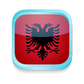 Smart phone button with Albania flag — Stock Vector