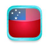 Smart phone button with Samoa flag — Stock Vector