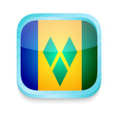 Smart phone button with Saint Vincent and The Grenadines flag — ストックベクタ