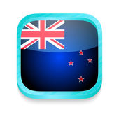 Smart phone button with New Zealand flag — Stock Vector