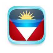 Smart phone button with Antigua and Barbuda flag — Stock Vector