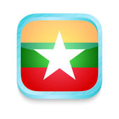 Smart phone button with Myanmar flag — Stock Vector