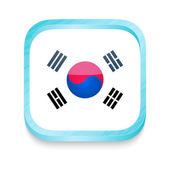 Smart phone button with South Korea flag — Stock Vector