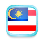 Smart phone button with Malaysia flag — Stock Vector