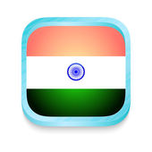 Smart phone button with India flag — Stock Vector