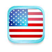 Smart phone button with USA flag — Stock Vector