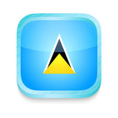 Smart phone button with Saint Lucia flag — Stock Vector