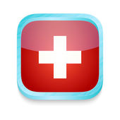 Smart phone button with Switzerland flag — Stock Vector