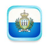 Smart phone button with San Marino flag — Stock Vector