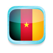 Smart phone button with Cameroon flag — Stock Vector