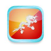 Smart phone button with Bhutan flag — Stock Vector