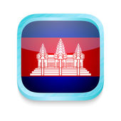 Smart phone button with Cambodia flag — Stock Vector