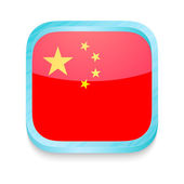 Smart phone button with China flag — Stock Vector