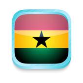 Smart phone button with Ghana flag — Stock Vector