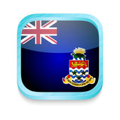 Smart phone button with Cayman Islands flag — ストックベクタ