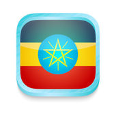 Smart phone button with Ethiopia flag — Stock Vector